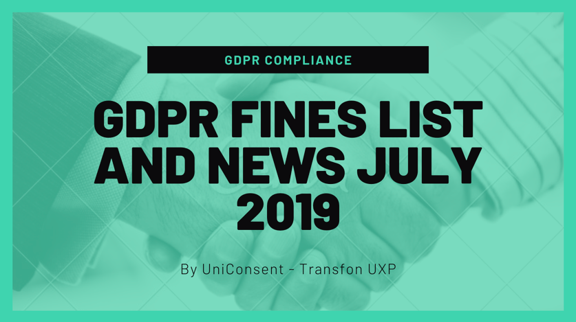GDPR fines list and News July 2019 - Nov 2019